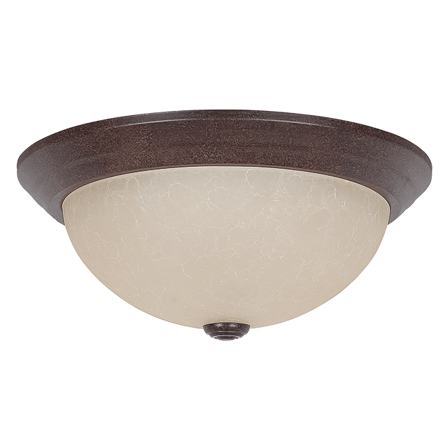 Rubbed Bronze Finish Sunset Lighting F7164-62 Flush Mount with Twist on Faux Alabaster Glass